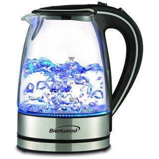 Brentwood Stainless Steel KT-1900BK Royal 1.7-liter Cordless Tea Kettle, Blue LED