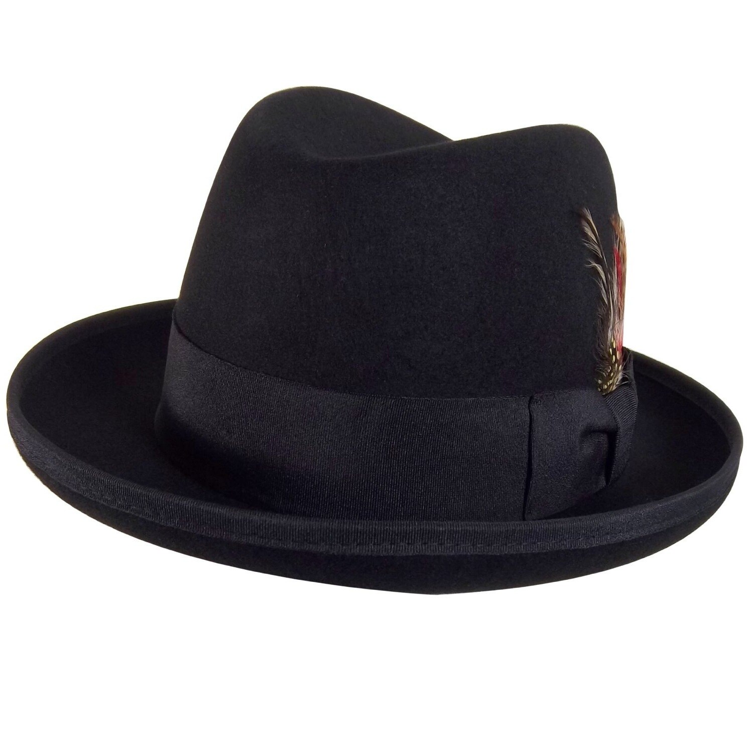 Godfather Gangster Feather Black Fedora Hat (Small / Medi...