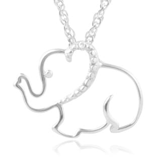 Journee Collection Sterling Silver Diamond Accent Elephant Pendant