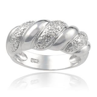 Journee Collection Sterling Silver Diamond Accent Braid Ring
