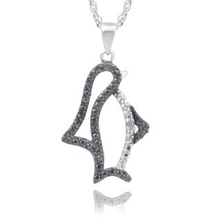 Journee Collection Sterling Silver Diamond Accent Penguin Pendant