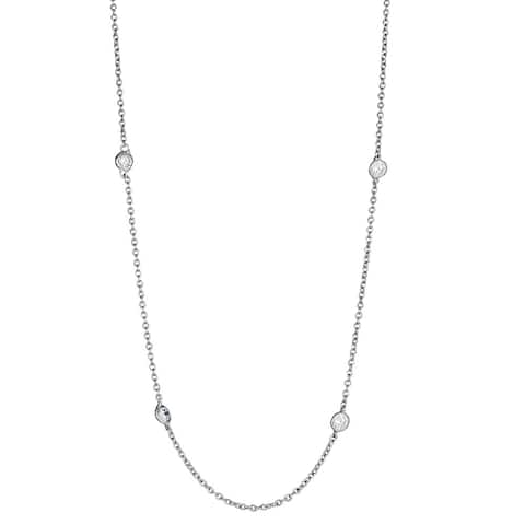 Decadence Sterling Silver Micropave Cubic Zirconia Rolo Chain Necklace