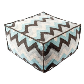 Trendsage Grey Turquoise Wool Pouf