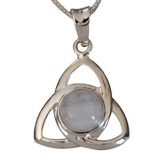 Handmade Sterling Silver Round Moonstone Celtic Design Necklace (Thailand)