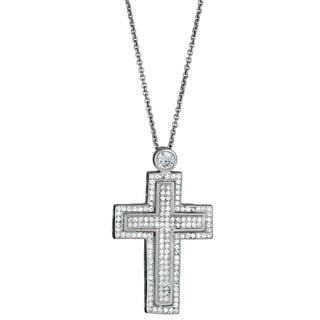 Decadence Sterling Silver Micropave Cubic Zirconia Fancy Double Cross Pendant Necklace