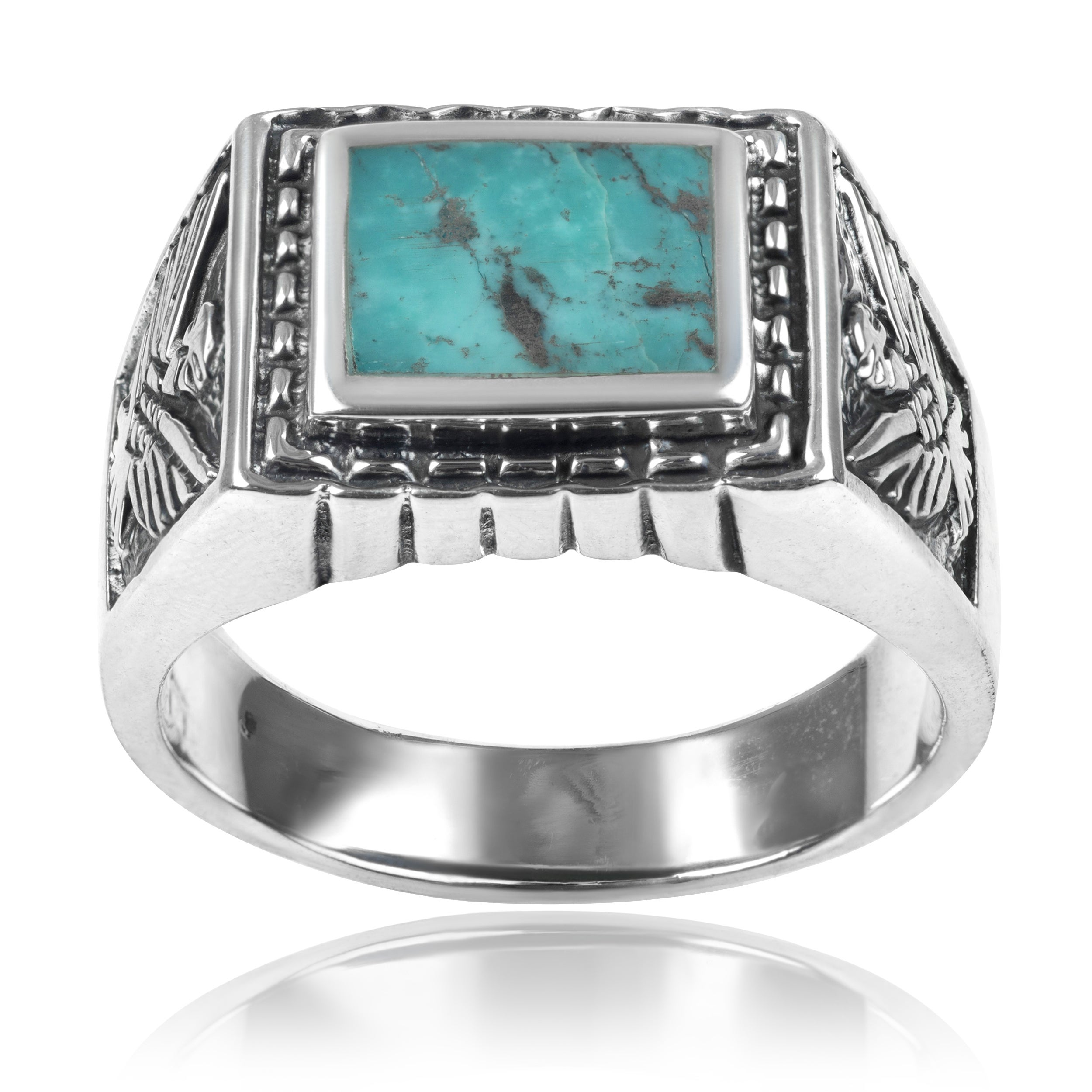 Vance Co. Men's Sterling Silver Turquoise Ring (Turquoise...