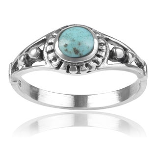 Journee Collection Sterling Silver Round-cut Turquoise Ring