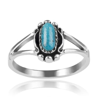 Journee Collection Sterling Silver Narrow Turquoise Ring