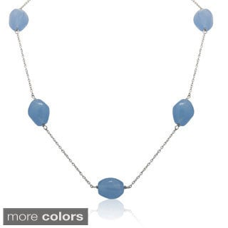Sterling Silver 5-gemstone Station Chain Necklace