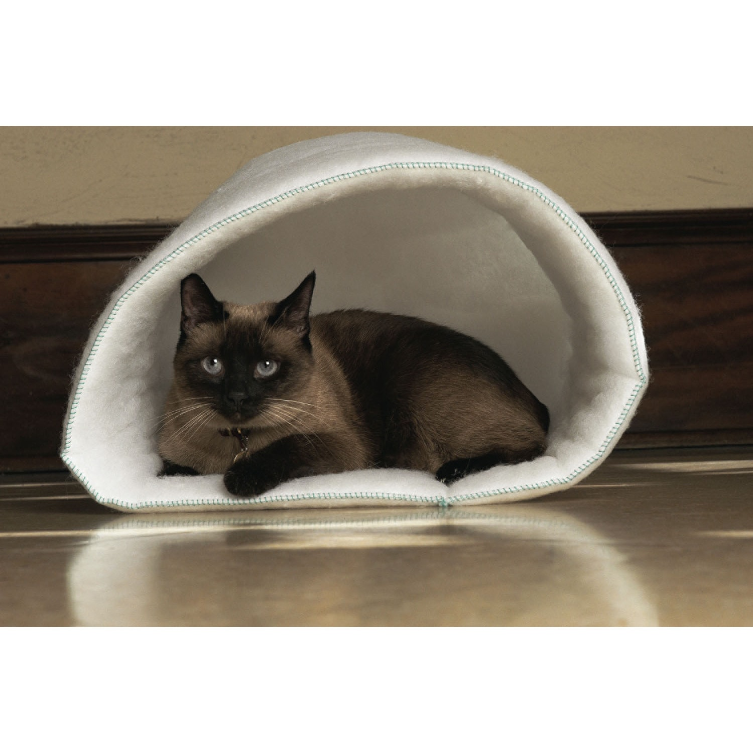 Carolina Pet Co. Mysterious Kitty Kup Cat Bed (White), Si...