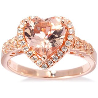 Rose Goldplated Sterling Silver 1.9Ct Tcw Morganite And White Zircon Heart Ring