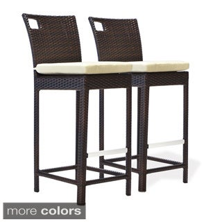 Bienal 30-inch Sydney Outdoor Wicker Bar Stool with Cushion (Set of 2)