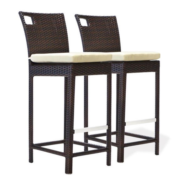 Bienal 30 Inch Sydney Outdoor Wicker Bar Stool With