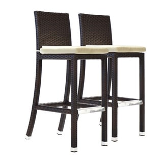 Bienal Crescent 30.5-inch Outdoor Wicker Bar Stools with Cushion (Set of 2)