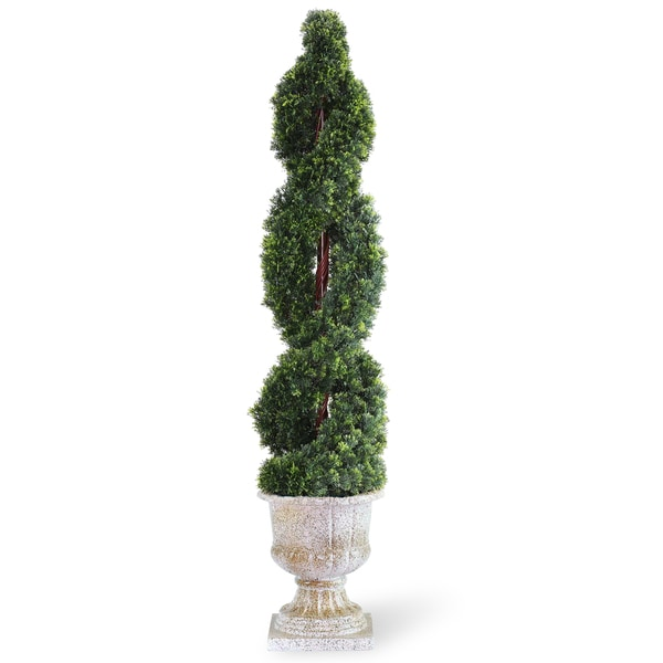 54-inch Double Cedar Spiral Tree with Decorative Urn - Green