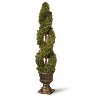 54-inch Double Cedar Spiral Tree with Decorative Urn