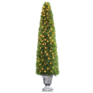 72-inch Upright Juniper Tree in a Silver Urn with 200 Clear Lights