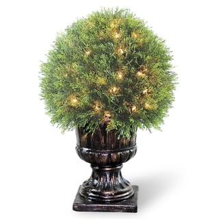 27-inch Upright Juniper Ball Topiary Tree in a Decorative Urn with 70 Clear Lights