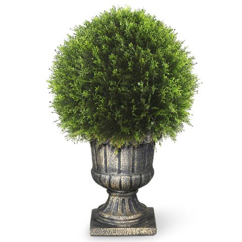 27-inch Upright Juniper Ball Topiary Tree in a Decorative Urn
