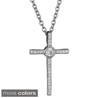 Decadence Sterling Silver Micropave Cubic Zirconia Thin Cross Pendant with Center Gemstone
