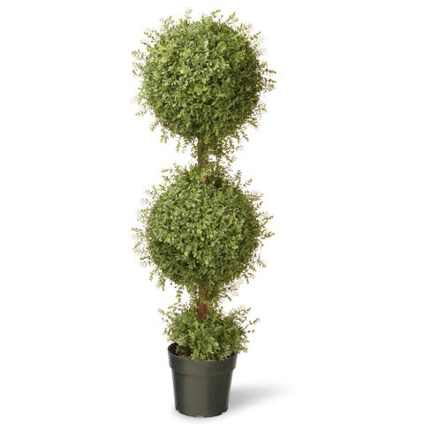 48-inch Mini Tea Leaf 2-ball Topiary in Pot