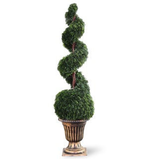 54-inch Cedar Spiral Tree with Ball in a Black and Gold Urn