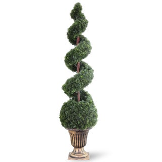 66-inch Cedar Spiral Tree with Ball in a Black/ Gold Urn