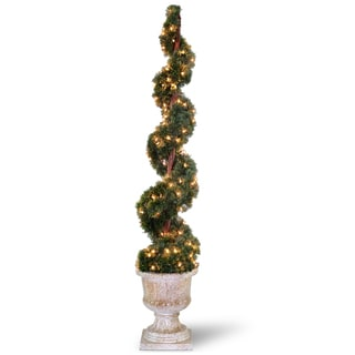 Upright Spiral Juniper Tree with Decorative Urn and 150 Clear Lights