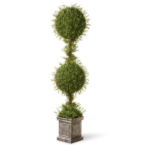 Mini Tea Leaf Two-ball Topiary Tree in Silver Square Pot