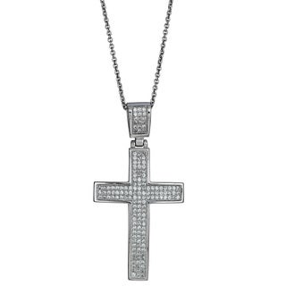 Decadence Sterling Silver Micropave Cubic Zirconia Encrusted Cross Pendant Necklace