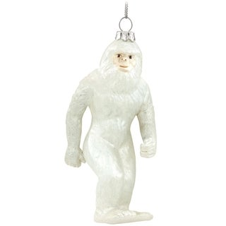 Abominable Snowman Yeti Hanging Glass Christmas Tree Ornament