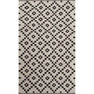 Flat-weave Geometric Ivory/ Black Area Rug (2' x 3')