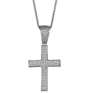 Decadence Sterling Silver Micropave Cubic Zirconia Encrusted Fancy Cross Pendant Necklace