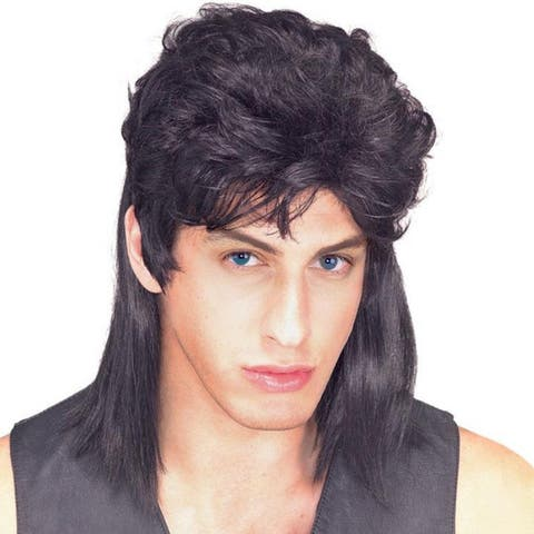 Men's Black Straight Hair Mullet Wig