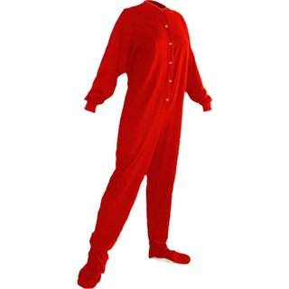 Adult Red Jersey Knit Drop Seat Footed Pajamas