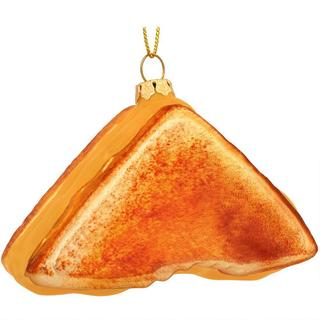 Grilled Cheese Sandwich Glass Christmas Ornament