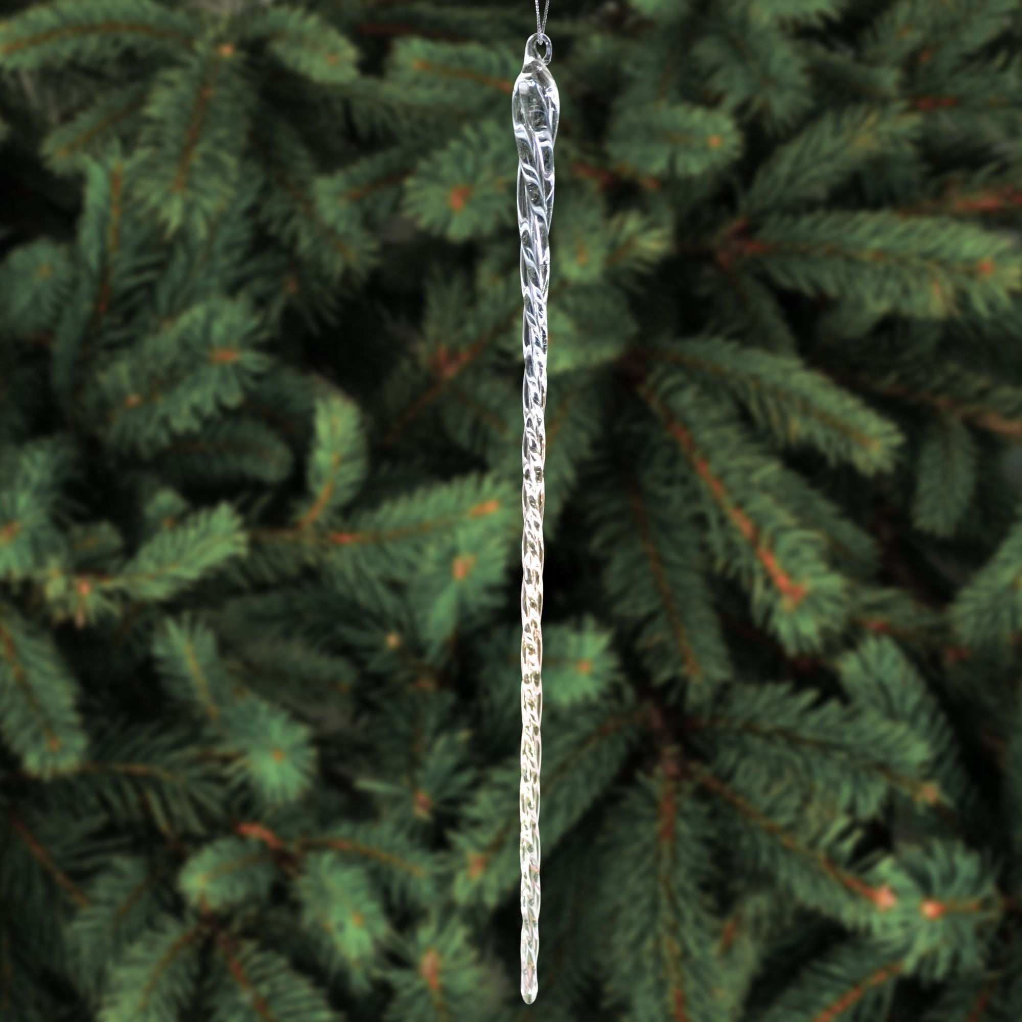 Icicle For Christmas Trees.14 Inch Clear Glass Icicle Hanging Christmas Tree Ornaments