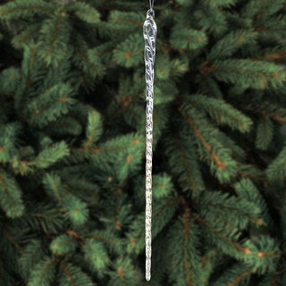 14-inch Clear Glass Icicle Hanging Christmas Tree Ornaments