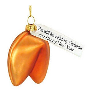 Fortune Cookie Glass Christmas Ornament