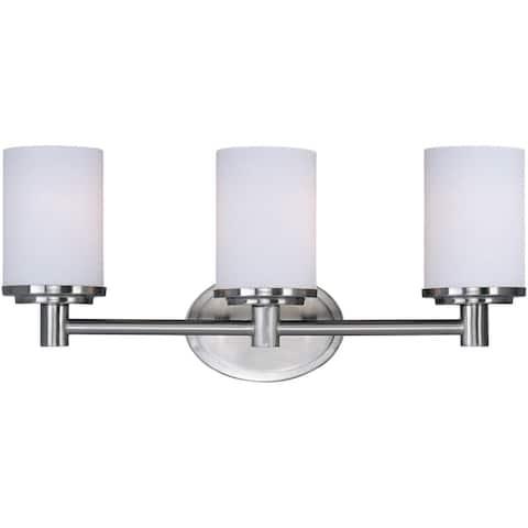 Maxim Nickel 3-light Cylinder Bath Vanity Light