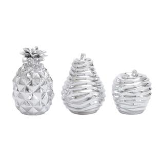 Polystone Silver Fruit (Set of 3)