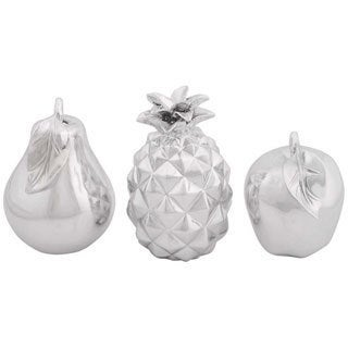 Polystone Smooth Silver Fruit (Set of 3)