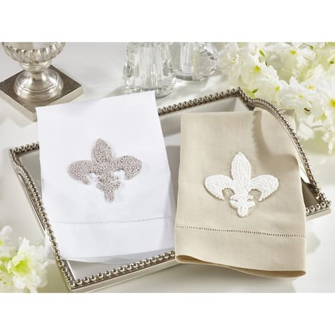 Fleur-de-Lis Design Guest Towels (Set of 4)