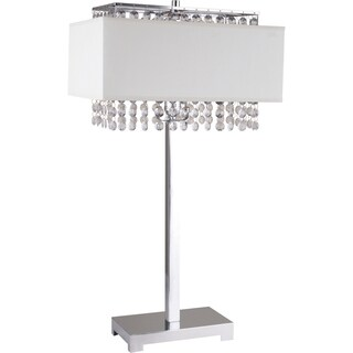 White Square Crystal Table Lamp