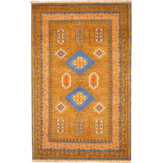 Herat Oriental Indo Hand-knotted Tribal Kazak Light Brown/ Brown Wool Rug (3' x 5')