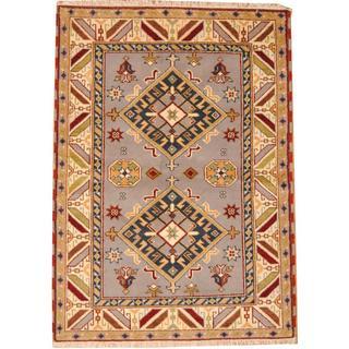 Herat Oriental Indo Hand-knotted Tribal Kazak Gray/ Navy Wool Rug (4'9 x 6'7)