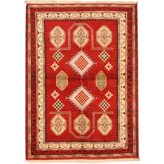 Herat Oriental Indo Hand-knotted Tribal Kazak Red/ Light Blue Wool Rug (4'8 x 6'7)