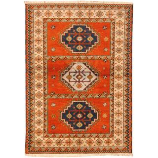 Herat Oriental Indo Hand-knotted Tribal Kazak Red/ Navy Wool Rug (4'7 x 6'6)