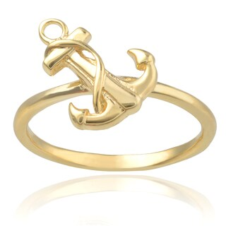 Journee Collection Sterling Silver Anchor Ring