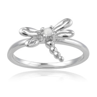 Journee Collection Sterling Silver Diamond Accent Dragonfly Ring